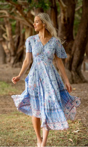 Sky Blue Floral Latalia V Neckline Dress