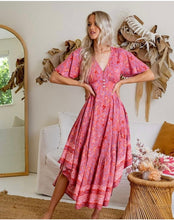 Load image into Gallery viewer, Cherry Blossom Floral Latalia V Neckline Dress