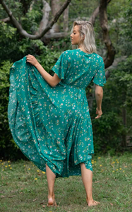 Green Floral Latalia V Neckline Dress