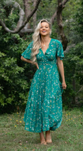 Load image into Gallery viewer, Green Floral Latalia V Neckline Dress