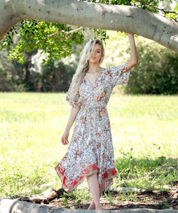 White Floral Maxi Boho Uneven Hem Dress