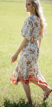 Load image into Gallery viewer, White Floral Maxi Boho Uneven Hem Dress
