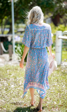 Load image into Gallery viewer, Sky Blue & Pink Floral Maxi Boho Uneven Hem Dress