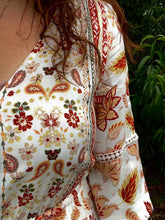 Load image into Gallery viewer, Autumn Floral Print Boho Long Sleeve Dress