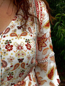 Autumn Floral Print Boho Long Sleeve Dress