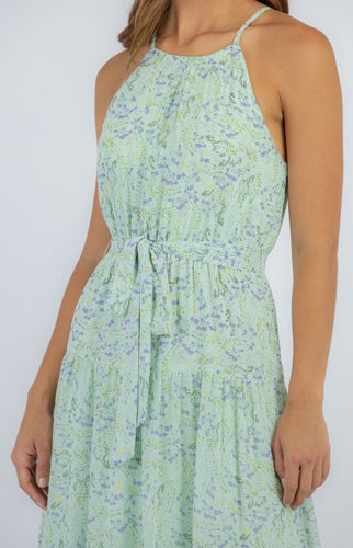 Mint Floral Halter Neck Maxi Dress with Tie Waist