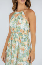Load image into Gallery viewer, Sage Floral Halter Midi with Tiered Hem