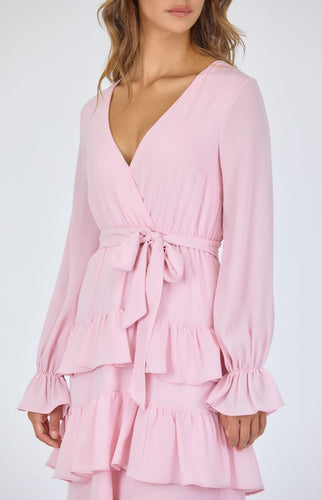 Blush Textured Chiffon Tiered Hem Midi Dress