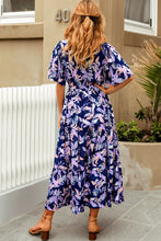 Load image into Gallery viewer, Navy Floral Full Length Maxi Dress with Elastic Waist