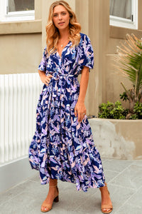 Navy Floral Full Length Maxi Dress with Elastic Waist