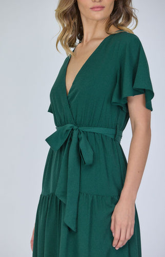 Emerald Green Butterfly Silk Tiered Maxi Dress