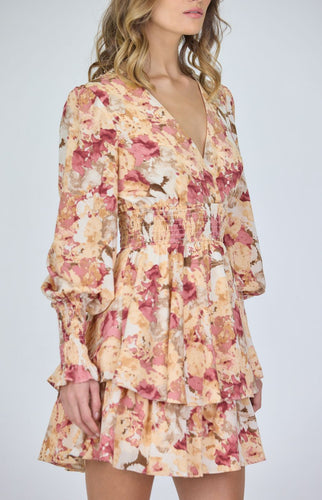 Rose Satin Print Double Ruffle Hem Dress