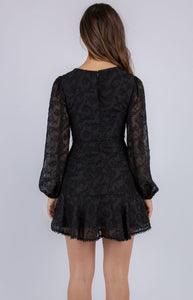 Black Textured Dress with Trim Details and Self Fabric