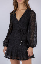 Load image into Gallery viewer, Black Textured Dress with Trim Details and Self Fabric