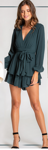 Emerald Green Textured Long Sleeve Playsuit