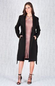 Black Longline Faux Wool Coat with Lapel