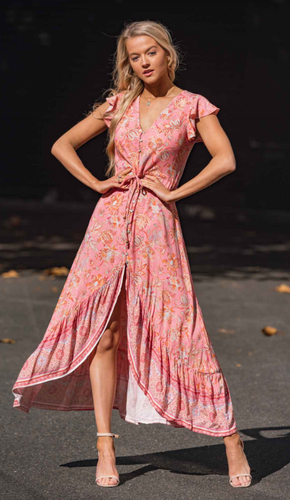Blush Floral Cap Sleeve Maxi Dress