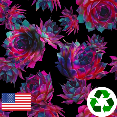 Brushed Jersey: Pink Succulents (17.5 recycled bottles per yard)
