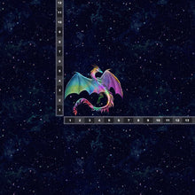Load image into Gallery viewer, Brushed Jersey:  Small Colorful Dragon Panel (Fat Half)