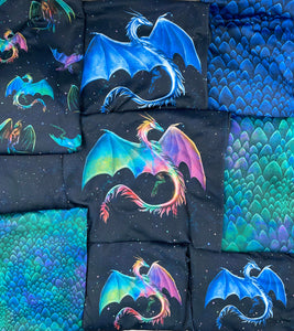Brushed Jersey:  Small Colorful Dragon Panel (Fat Half)