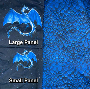 Brushed Jersey:  Large Blue Dragon Panel (Fat Half)
