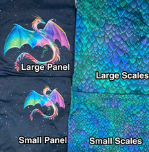 Load image into Gallery viewer, Brushed Jersey:  Large Colorful Dragon Panel (Fat Half)