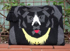 Knitted moon bear clutch