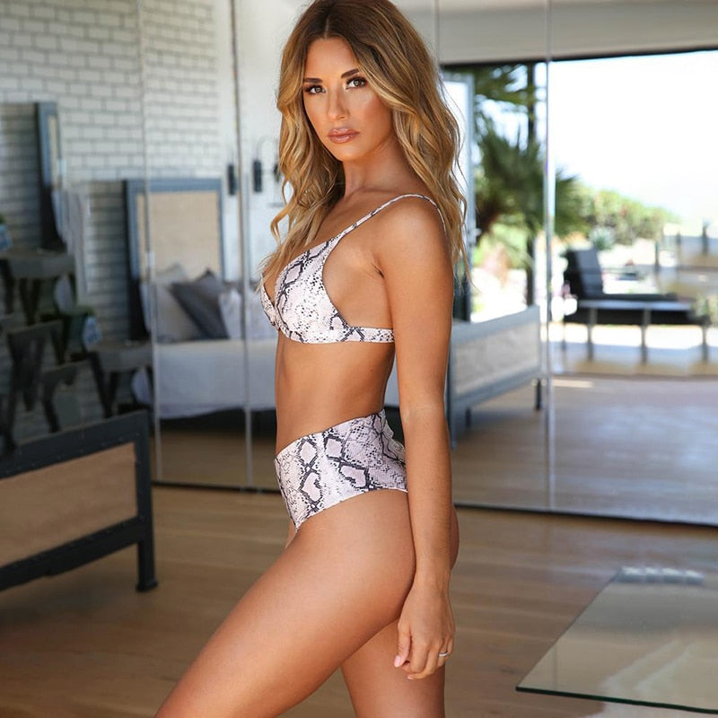 Snake Print Push Up High Waist Bikini