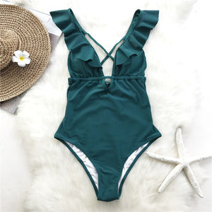 Ruffle V-neck One piece