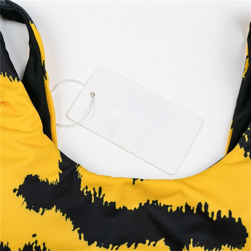 Yellow Print High Waist Opening One Piece