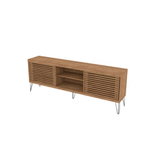 Load image into Gallery viewer, Modern Elegant TV Stand With Metal Legs And Wood-Slat Sliding Doors