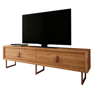 TV Stand with Country chic design, copper style feet and leather pushers