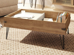 Iron Coffee table with sliding tray living room