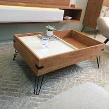 Load image into Gallery viewer, Iron Coffee table with sliding tray living room