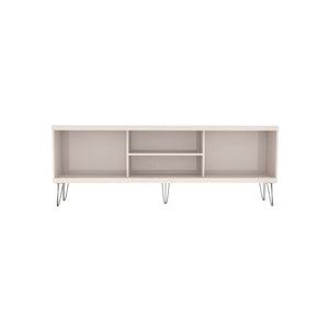 Modern Elegant TV Stand With Metal Legs And Wood-Slat Sliding Doors