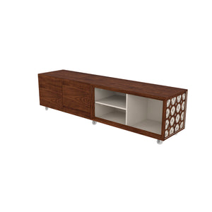 Modern Sophisticated TV Stand/ Laser Mosaic Details And Silicone Wheels