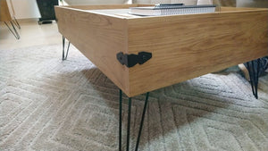 Iron Coffee table with sliding tray details