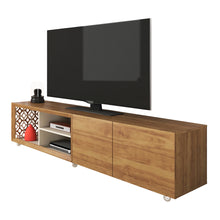 Load image into Gallery viewer, TV Stand with Country chic design, amazing laser details and silicone wheels