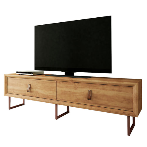 TV Stand with Country chic design, copper style feet and leather pushersTV Stand with Country chic design, copper style feet and leather pushers