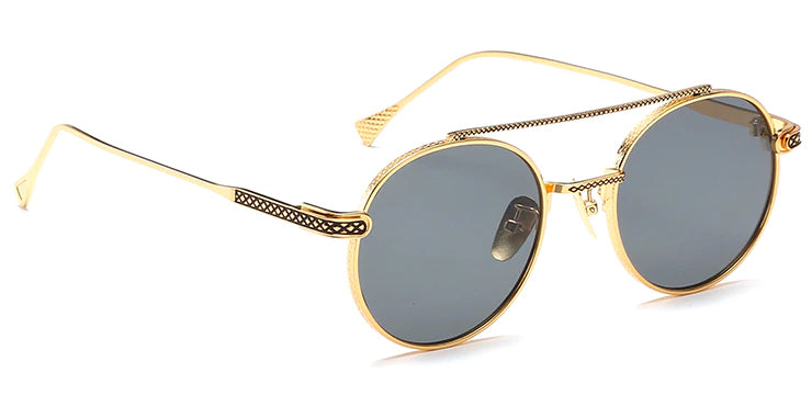 La Brea Rodeo Classic gold sunglasses with grey lenses - side