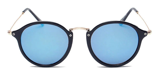La Brea Roosevelt Sky black gold sunglasses with light blue lenses - front