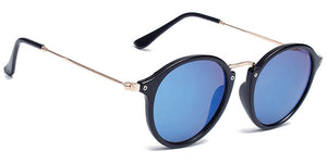 La Brea Roosevelt Sky black gold sunglasses with light blue lenses - side