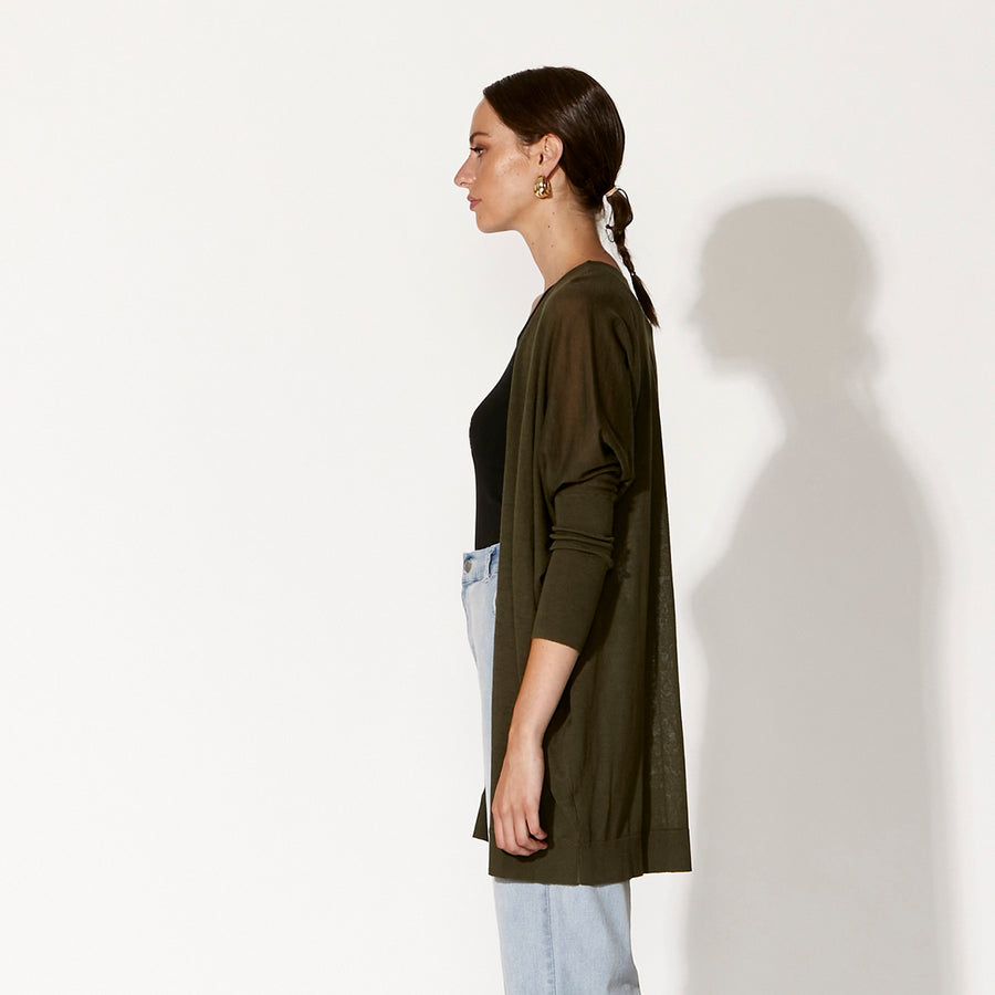 Grand Illusion Cardi - Washed Khaki