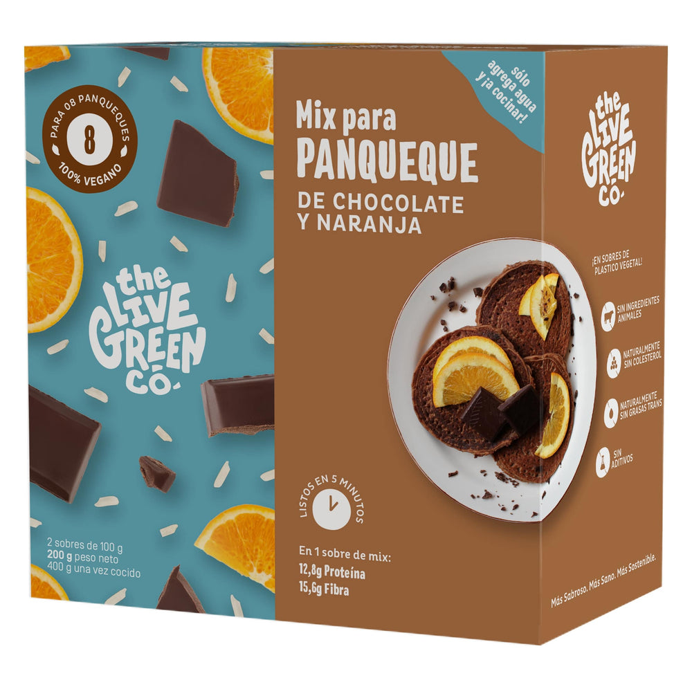Panqueques proteicos Chocolate & Naranja The Live Greenco - 8 un
