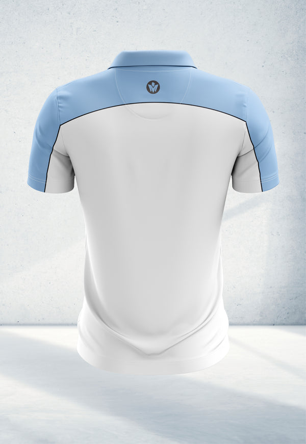 Staff White & Sky Blue Polo Shirt