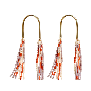 Double Fringe Beaded Earrings