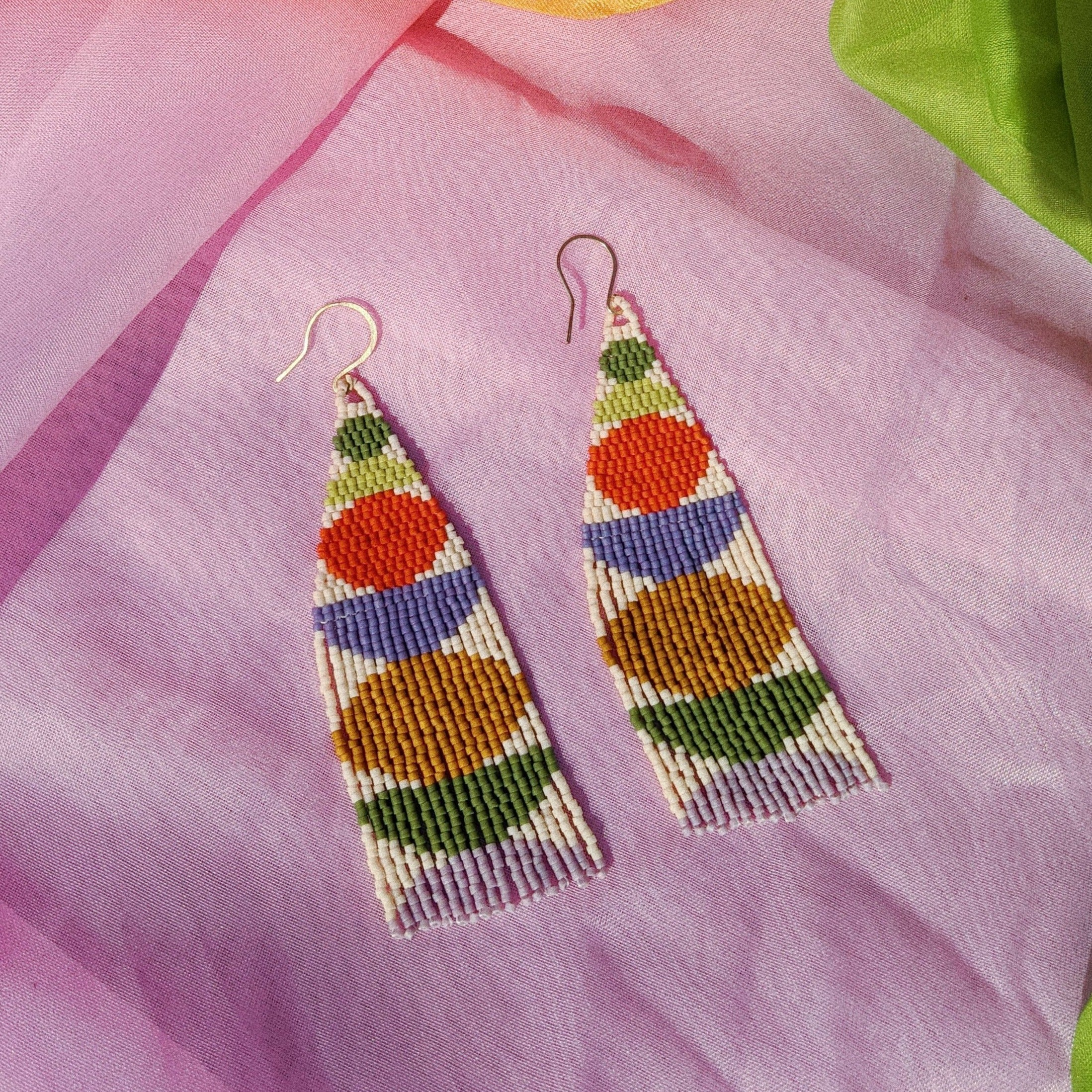 Stacked Shapes Beaded Earrings