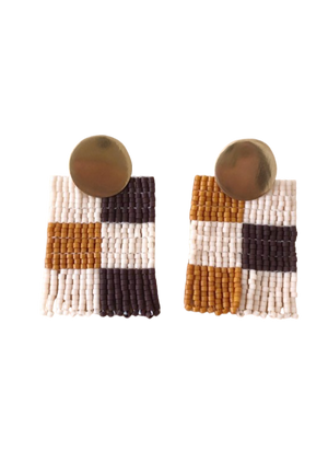 Checkered Mini Beaded Earrings