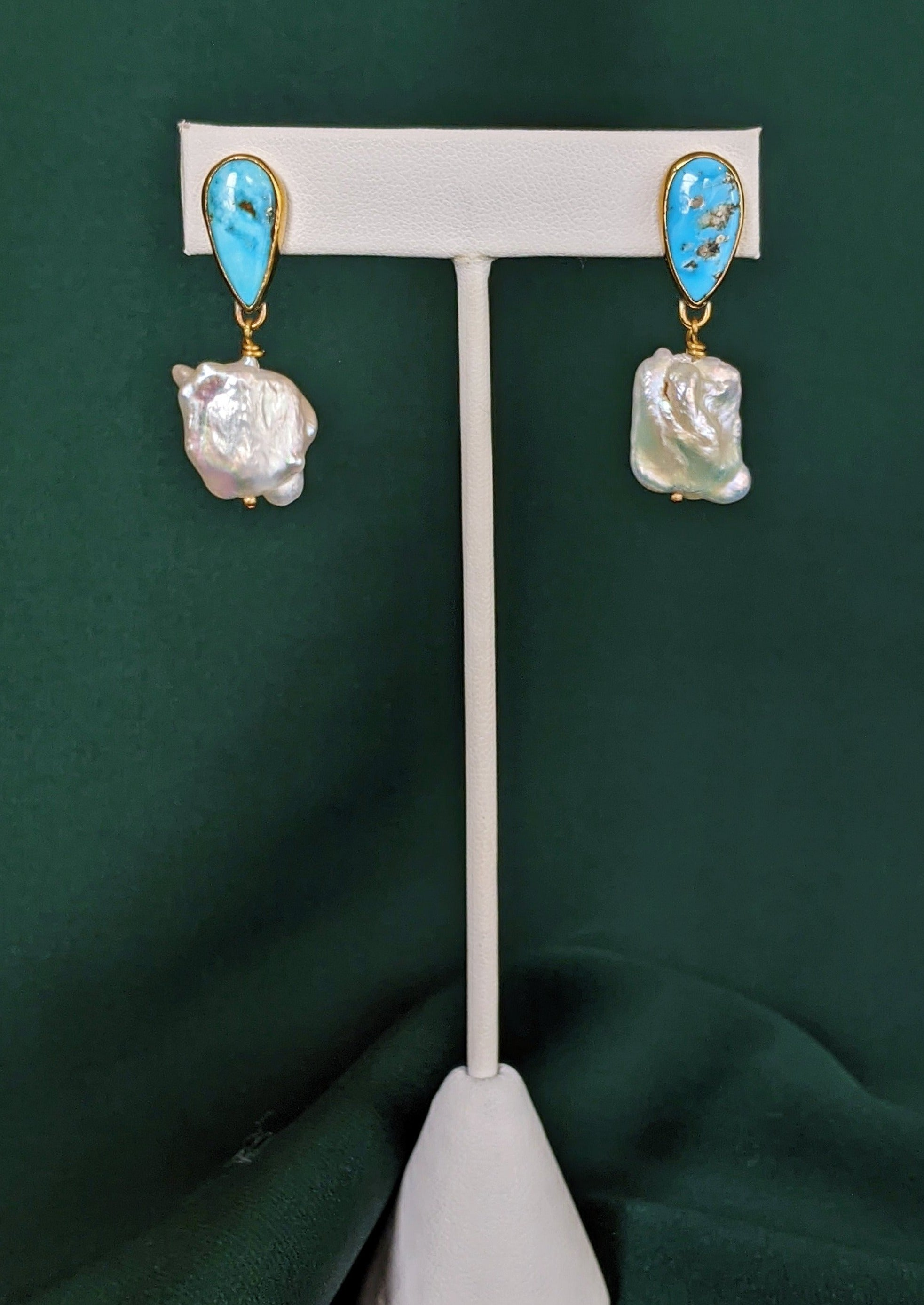 Turquoise and Pearl Brass Drop Earrings 3
