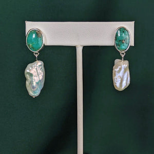 Turquoise and Pearl Silver Drop Earrings 2